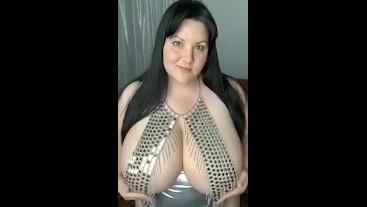 Shiny boob jewelry