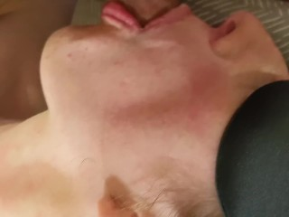 Amateur Petite redhead MILF gives BJ Blindfolded