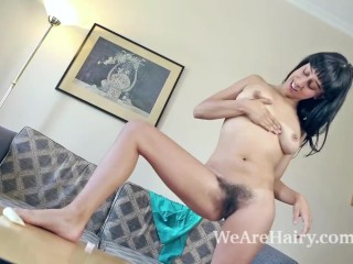 Violet Russo strips naked on her couch