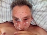 Starting the weekend with a cum self facial