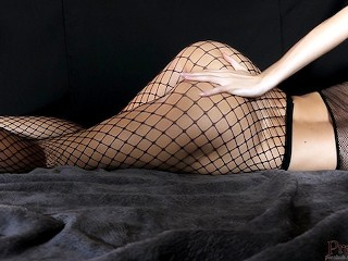 Young Horny Fit Girl In Fishnets Gets Body Shaking Orgasm ()