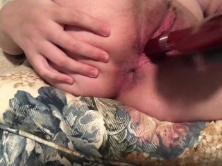 Young amateur Casey Ivory plays with her pussy and ass hole with hairbrush