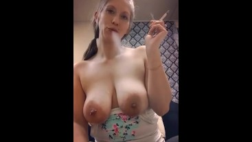 Smoking Milf With Boobs Out