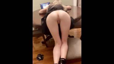Petite Blonde browsing Tumblr gets bent over the table and creampied