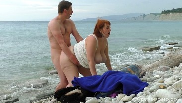 BBW mom`s fucking, pissing and hairy cream pie on the beach
