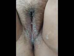 BBW Madelyn Fae Stone pushes out dildo, squirts cum