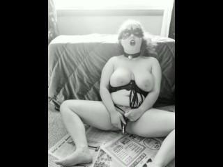 Aimee Masturbation boob licking in b w while you watch