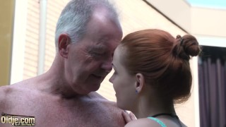 Teen nympho fucked hardcore in old and young video by grandpa