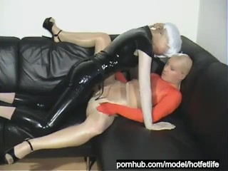Tow Teeny Pantyhose Encasement And Latex Lesbian Strapon Game (19 Aug 2019)