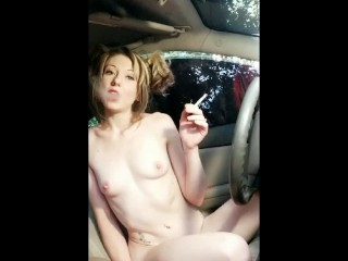 Ditching school to play with you smoking naked in moms car blonde pigtail