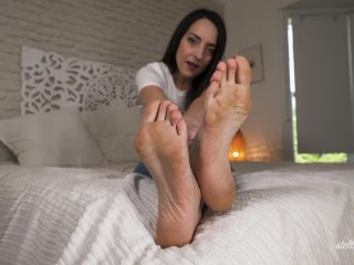 Beautiful soles with red toenails Stella Liberty