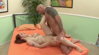 Slutty Redhead Fucked by Bald Man while her Boyfriend is Watching