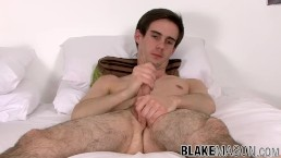Amateur twink Mark Green interviewed and jerking off to cum
