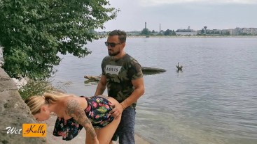 Amateur couple caught fucking in the public park. WetKelly