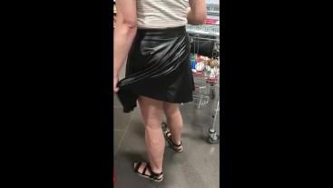 Shopping in wetlook skirt