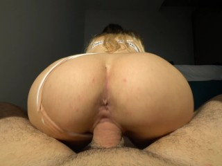 Try not to cum inside my tight pussy challenge – reverse cowgirl creampie