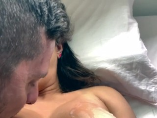 Hubby Eats His Own Cum Off My Big Tits And Makes Me Orgasm (20 Aug 2019)