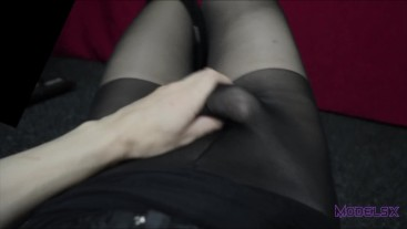 First person view - TS girl masturbates through the pantyhose