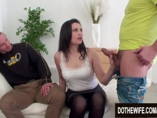 Pretty Housewife Kirschley Swoon Mounts a Hard Cock with Cuckolds Support (21 Aug 2019)