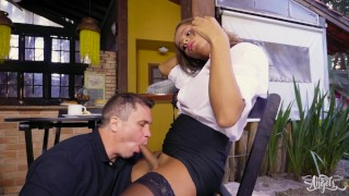 Hot Brazilian TS-babe pounded hard in a cafe