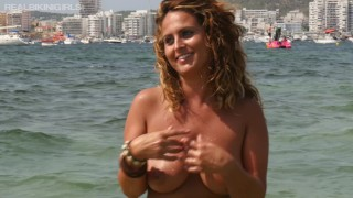Sexy Redhead At The Beach In Bikini Goes Topless With Bouncing Boobs