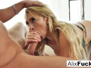 Alix slobbers all over a hot throbbing cock Alix Lynx