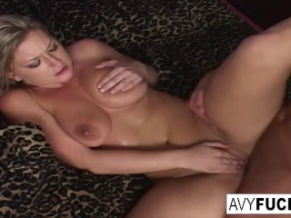 Busty Avy takes on a big cock