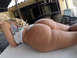 BAOS Blowing Out PAWG Blondie Fessers Ass During Anal In Public Blondie Fesser