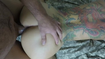 Slapping her ass and making her cum hard! Creampie