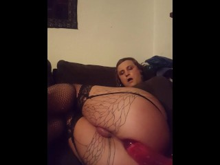 Shemale madeline black toys ass after with huge...