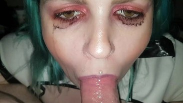 Policewoman Cum In Mouth & Swallow Blowjob Ruined Makeup