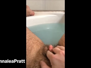 Playing with my extremely hairy pussy and giant clit in the tub