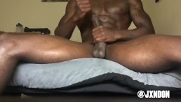 Muscular guy strokes his BBC until it explodes