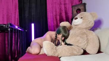 MissHornyG suck teddy bear´s long cock and teddy punish and slap slut face