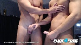 Aiden and Justin on Flirt4Free - Hunks Simultaneously Jerk Their Big Cocks