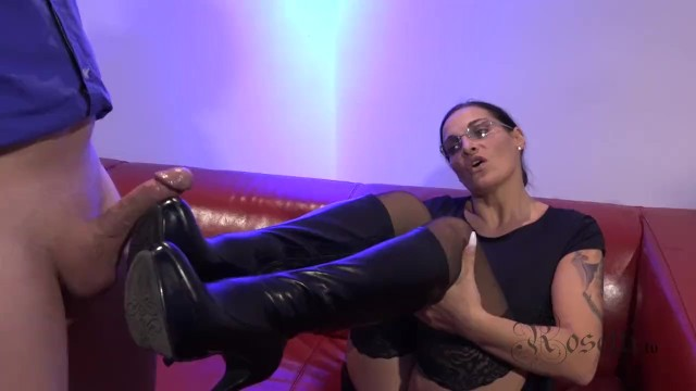 Ronnie kruell naked Footjob with leather boots and monster cumshot
