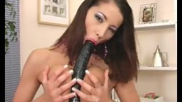 SOLOGIRLSMANIA Horny Brunette Slut Angel Dark Fucking black Dildo