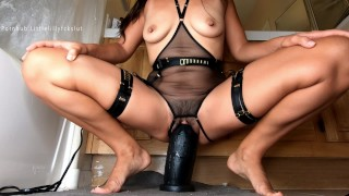 Slow Stretch & Pussy Gaping with Mrhankeys Black XL Boss Hogg +11″ Girth