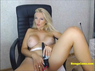 Gorgeous blonde is performing a very sensual show