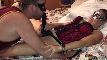 Hot wife (MILF) surprises husband with a BBC strap on to fuck his mouth/ass