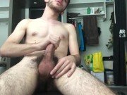 College student jerks off in his dorm