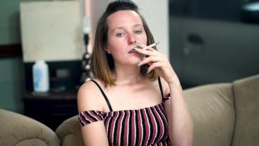 Hottie Enjoying a Smoke