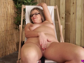 Sexy Step Mom Sun Bathing Gets Naked And Wanks While Her Son Jerks Off