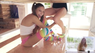 Talia Mint Challanges Her GF While Fucking Her Pussy Under Table (FULL)
