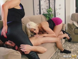 Brazzers Blonde babes Bridgette Nikki catch perv and teach him a lesson Bridgette B, Logan Pierce, Nikki Benz