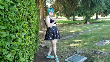 Seattle Ganja Goddess has a smoke and flashes in a cemetary PUBLIC PAWG
