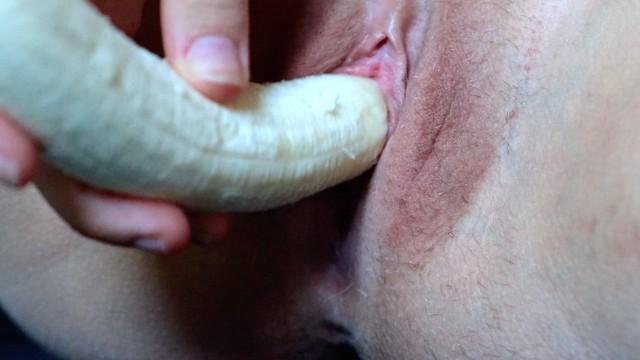 Banana masturbation Missjennip - scandinavian amateur really hot inserting, cumming and birthing banana close up