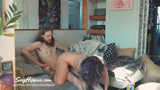 Eating Them Out While They Fuck - FFM Threesome - Sexy Hippies