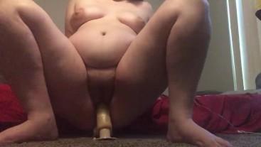 Wet pussy Riding dildo