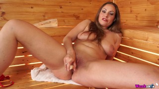 Sexy Milf In Sauna Wants You To Wank Only When Told While She Fucks Herself